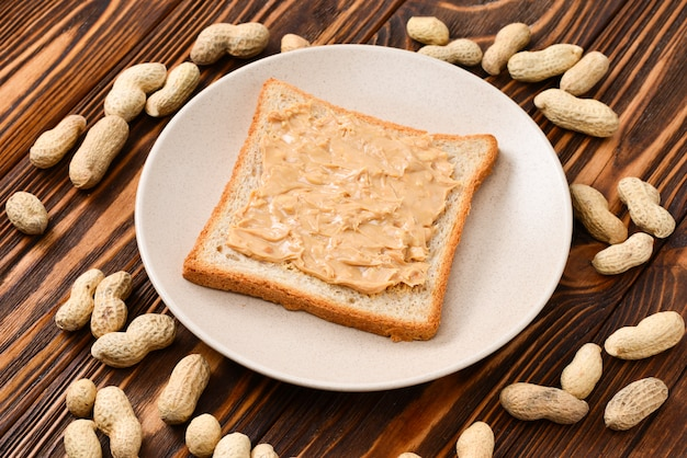 Creamy peanut butter with toast