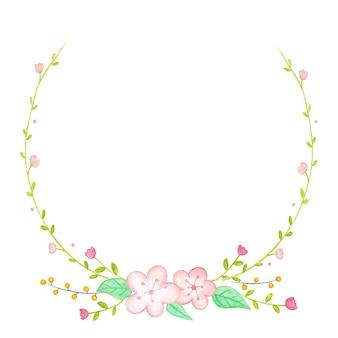 花の水彩画の花輪を作成する