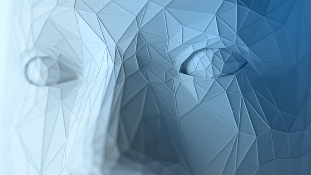Creates a polygonal digital human face. increase polygons and quality. 3d illustration