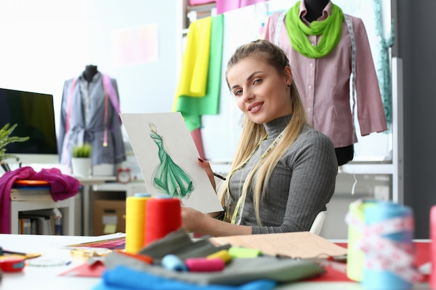 Creating garment clothes design and sewing concept