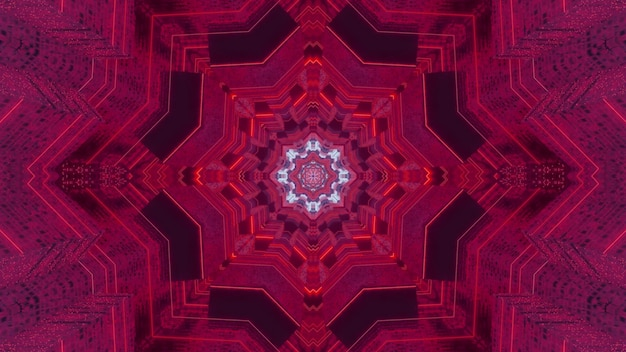 Creative 3d illustration of abstract background with symmetric fractal ornament of vibrant pink color