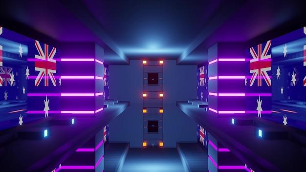 Creative 3d illustration of geometric symmetric passage with illuminating uk flag and neon lights
