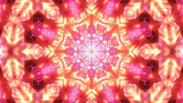 Творческая трехмерная иллюстрация абстрактного фона симметричного кристаллического орнамента, сияющего красным цветом