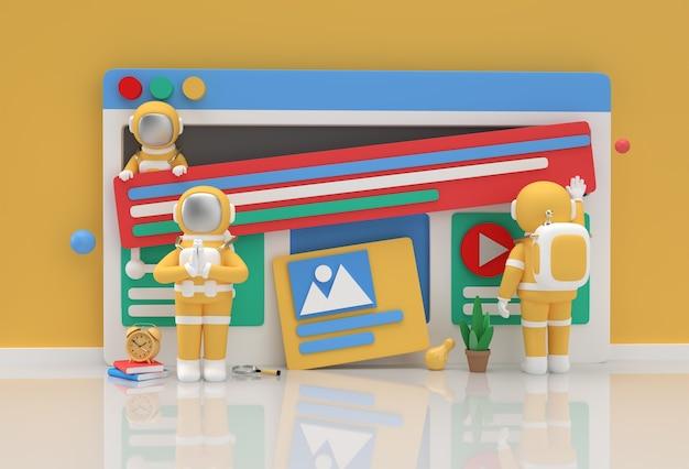 Web開発バナー、マーケティング資料、ビジネスプレゼンテーション、オンライン広告のためのクリエイティブ3dレンダリングデザイン宇宙飛行士ナマステジェスチャー。