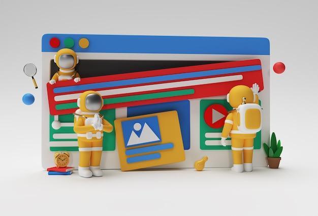 Creative 3d render design astronaut namaste gesture for web banner, marketing material, business presentation, online advertising.
