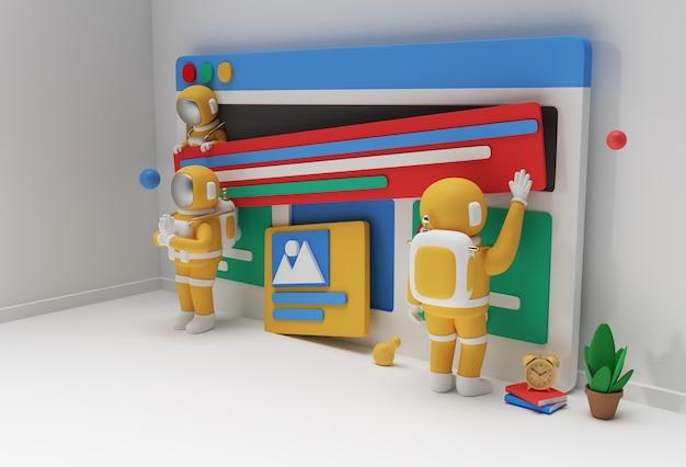 Creative 3d render design astronaut namaste gesture for web development banner, marketing material, business presentation, online advertising.