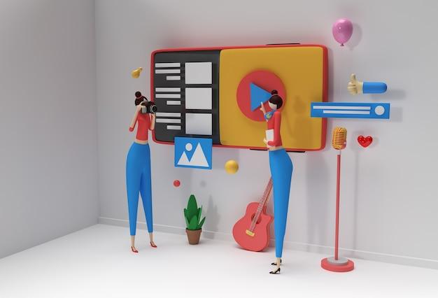 웹 배너, 마케팅 자료, 비즈니스 프레젠테이션, 온라인 광고를 위한 크리에이티브 3d 렌더링 디자인.