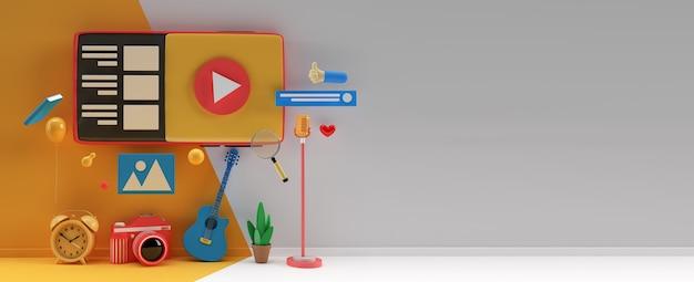 Webバナー、マーケティング資料、ビジネスプレゼンテーション、オンライン広告用のクリエイティブな3dレンダリングデザイン。