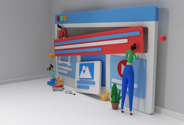 Web開発バナー、マーケティング資料、ビジネスプレゼンテーション、オンライン広告用のクリエイティブな3dレンダリングデザイン。