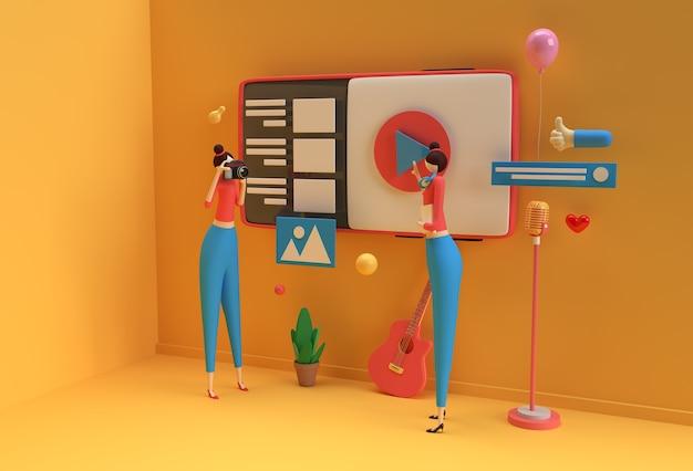 Creative 3d render design for web banner, marketing material, business presentation, online advertising.