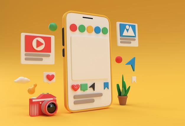 Creative 3d render mobile mockup social media web development banner, marketing material, presentation, online advertising.