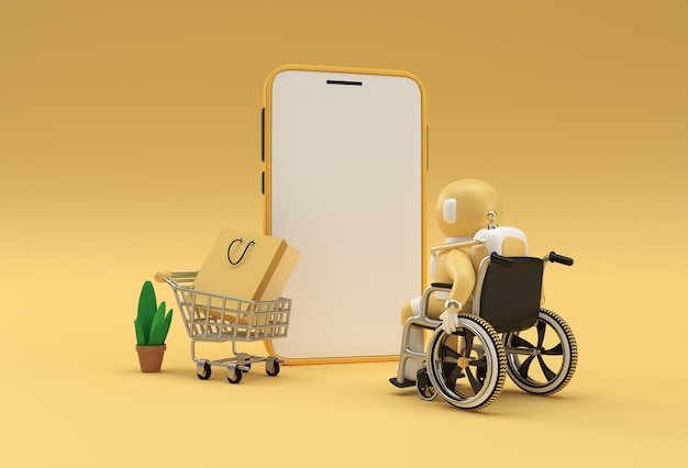 Creative 3d render mobile online shopping mockup with astronaut in wheelchair web banner, marketing material, presentation, online advertising.