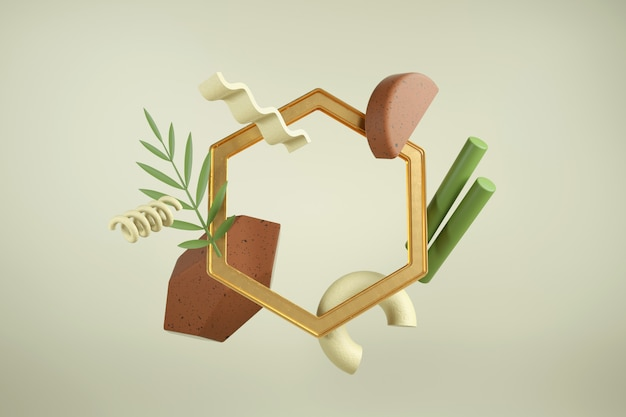 Creative 3d render with frame. modern composition of shapes and materials. earthy colors.