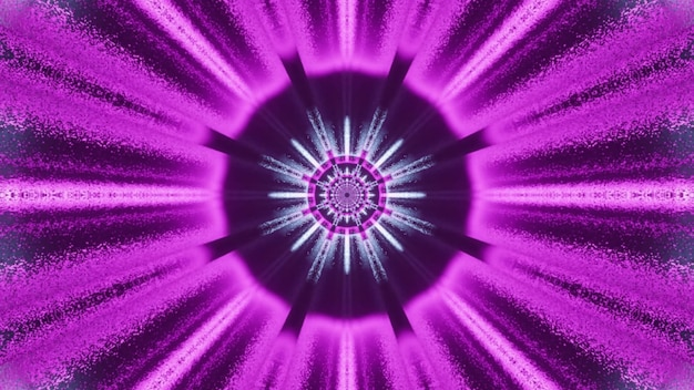 Creative abstract art visual background 4k uhd 3d illustration with round center and bright purple neon rays forming perspective effect of fantastic space tunnel