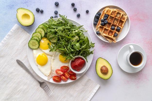 Creative arrangement of breakfast meal