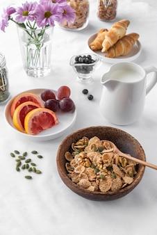 Creative arrangement of delicious breakfast meal