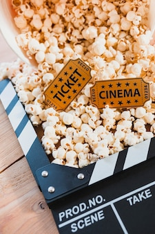 Creative arrangement of popcorn and clapper