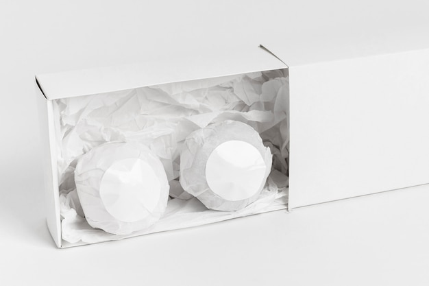 Creative arrangement of packaged bath bombs