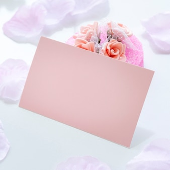Creative arrangement for quinceañera party on table with empty card