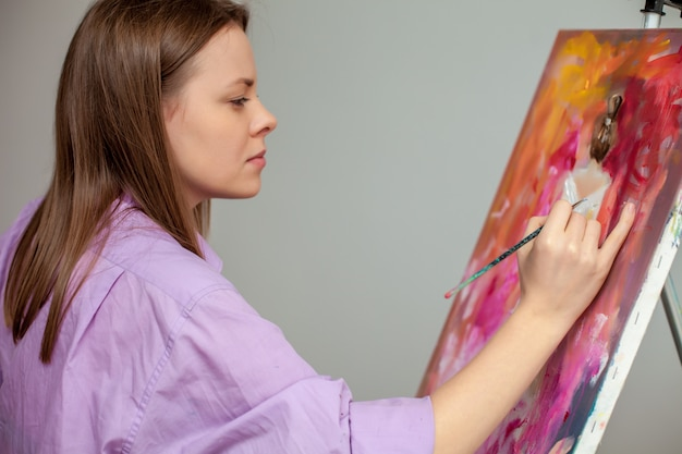 Creative artist for drawing in the studio