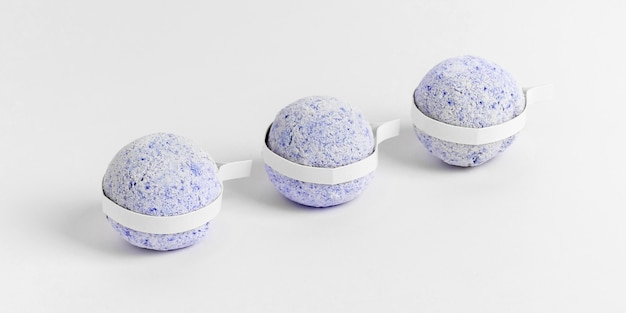 Creative assortment of blue bath bombs