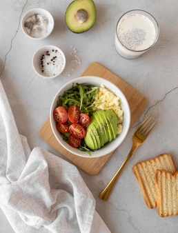 Creative assortment of delicious breakfast meal