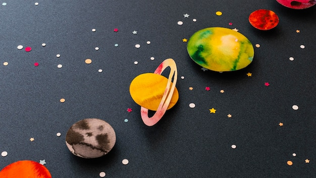 Creative assortment of paper planets