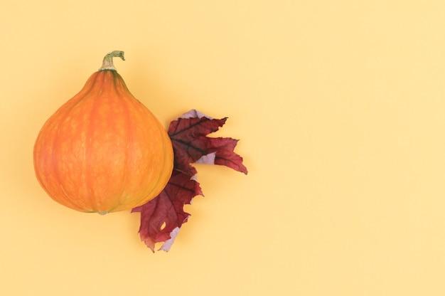 創造的な秋の組成物。カボチャと2色の背景に乾燥した葉。スペースをコピーします。