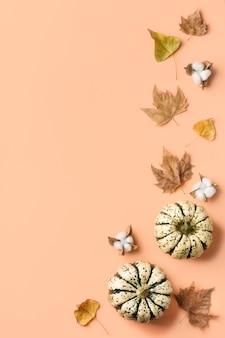 Творческая осенняя композиция на день благодарения с декоративными тыквами и сушеными листьями. плоская планировка, вид сверху, копия пространства, натюрморт коралловый розовый фон для поздравительной открытки