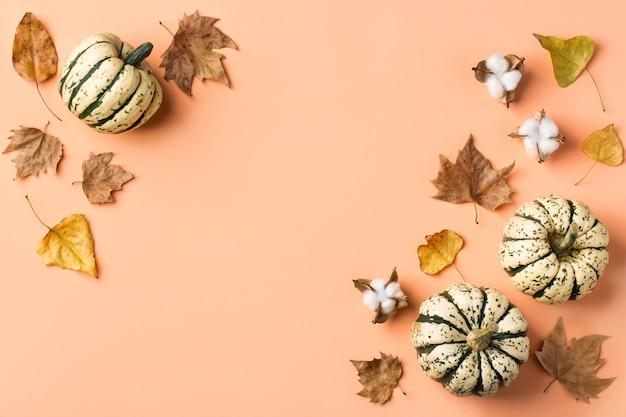 장식용 호박과 말린 잎이 있는 창의적인 가을 추수 감사절 구성. 평평한 평지, 위쪽 보기, 복사 공간, 연하장을 위한 정물 산호 분홍색 배경