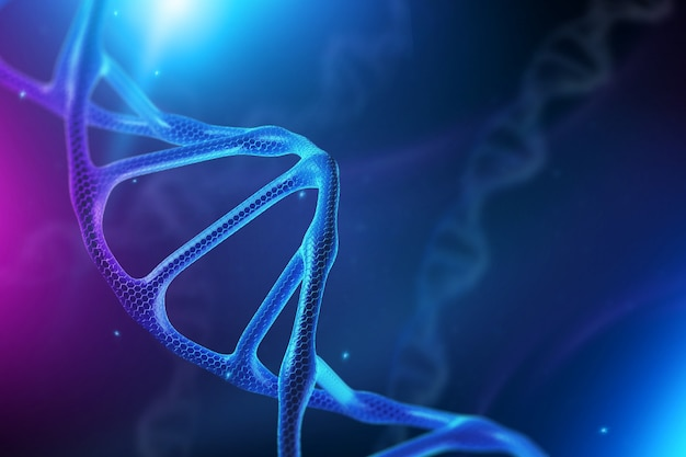 Creative background, dna structure, dna molecule on a blue background, ultraviolet.