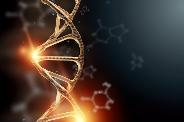 Creative background, dna structure, golden dna molecule on gray background, ultraviolet