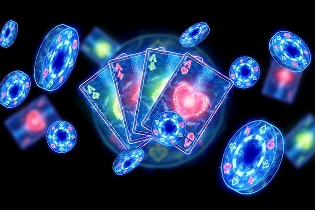 Творческий фон, игровые карты, фишки казино на темном неоновом фоне. понятие об азартных играх, казино. 3d-рендеринг, 3d-иллюстрация.