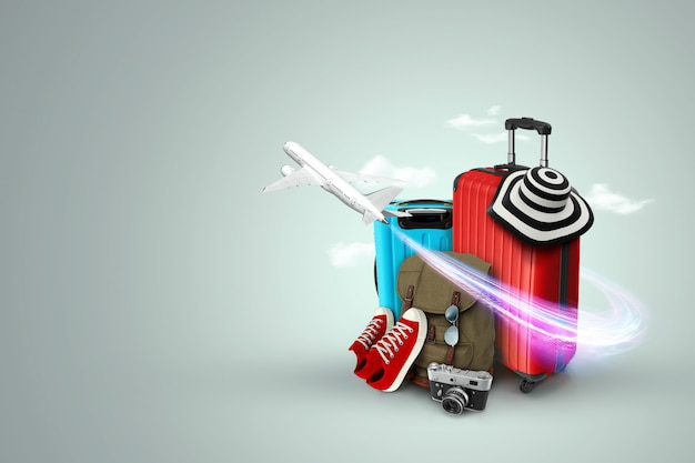 Creative background, red suitcase, sneakers, plane on a gray background.