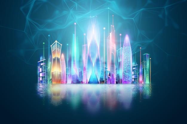 創造的な背景、スマートシティ、ビッグデータ伝送技術の概念。 3dレンダリング、3dイラスト。