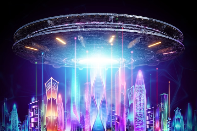 Creative background, ufo plate hovers over the night city in neon lights. aliens, aliens, contact, invasion concept. 3d rendering, 3d illustration.
