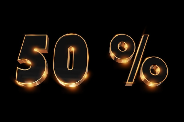 Creative background, winter sale, 50 percent, discount, 3d gold numbers.