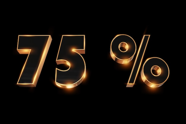 Creative background, winter sale, 75 percent, discount, 3d gold numbers.