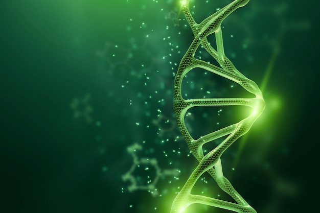 Creative, biological background, dna structure, dna molecule on a green background