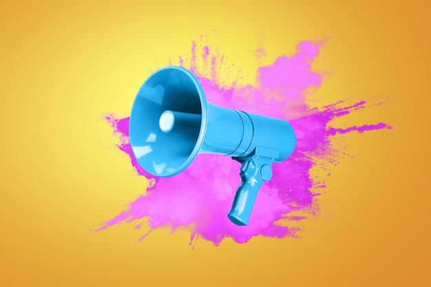 Креативный синий мегафон с цветной розовой вспышкой на оранжевом фоне. творческое внимание красочная идея и концепция звукового сообщения. продажи и реклама
