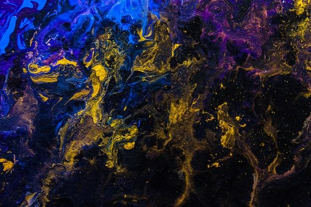 創造的なブルーバイオレットゴールド抽象的な手描きの背景壁紙テクスチャデザインクローズアップフラグメント汚れの流体アクリル水彩油絵画像キャンバス現代現代美術