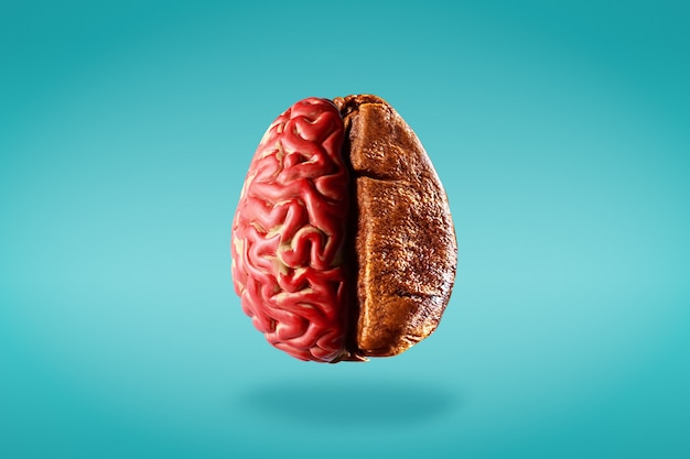 創造的な脳刺激の概念。人間の脳の半分と青い背景にコーヒー豆の半分。