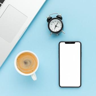 Creative business arrangement on blue background