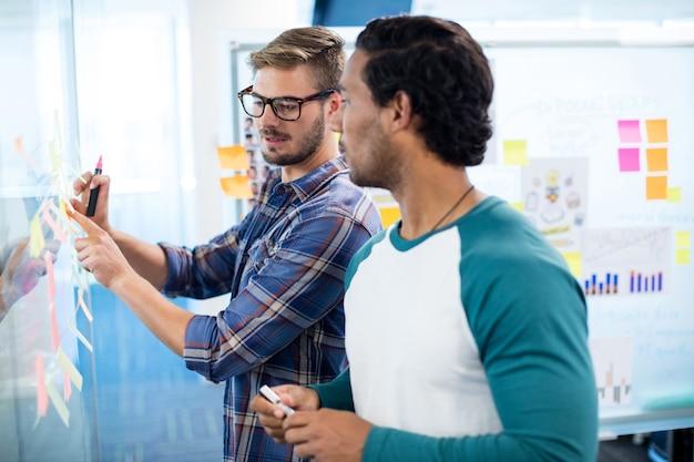 Творческая бизнес-команда, пишущая на липких заметках в офисе