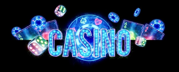 Creative casino background, inscription casino in neon letters playing cards roulette on a dark background. flyer. gambling concept, header for the site. copy space. 3d illustration, 3d render.