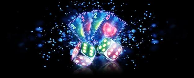 Творческий фон казино, игральные карты и неоновые кости на темном фоне. концепция азартных игр, буклет, флаер, заголовок для сайта. 3d иллюстрации, 3d-рендеринг.