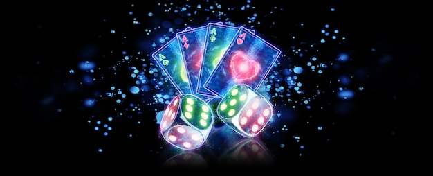 Creative casino background, playing cards and dice neon on a dark background. gambling concept, leaflet, flyer, header for the site. 3d illustration, 3d rendering.