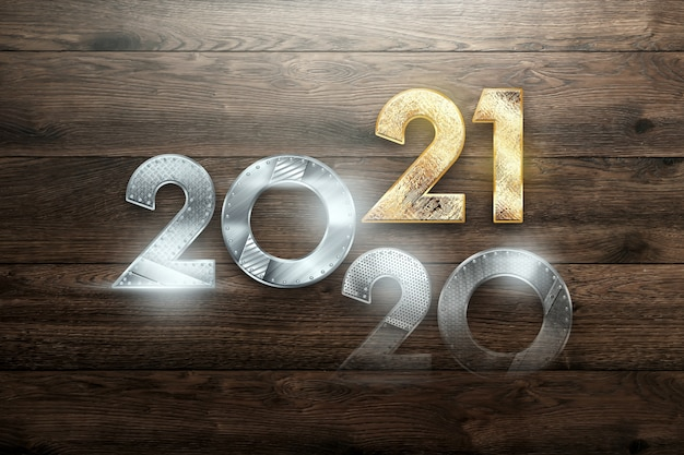 Creative christmas background, inscription 2021 with numbers from metal on a wooden background.