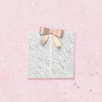 Creative christmas gift box for product display with marble stone texture. 3d christmas background. top view. flat lay.