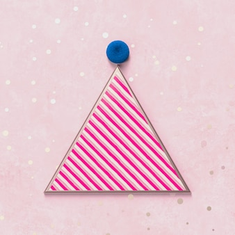 Creative christmas party hat for product display with pink candy texture. 3d christmas background. top view. flat lay.